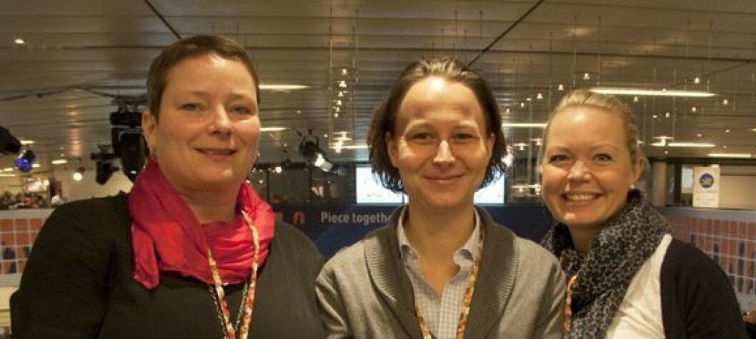Kari Gerhardsen Vikestad (f.v.), Kristin Heggen og Eline Rostad holdt faglige innlegg på årets ECR. Foto: Tone Stidahl