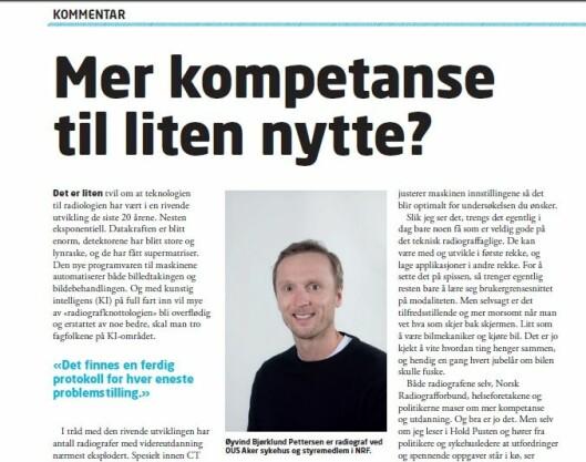 Øyvind Bjørklund Pettersen er CT-<br />   radiograf ved OUS Aker og